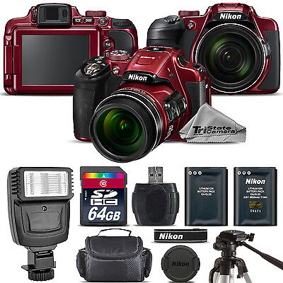 Nikon COOLPIX B700 (RED) 20.2MP 4K Video WiFi NFC Camera 60x Zoom - 64GB Kit