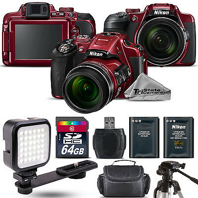 Nikon COOLPIX B700 (RED) 20.2MP 4K WiFi NFC Camera 60x Zoom + LED Kit - 64GB Kit