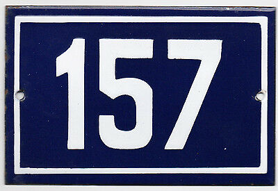 Old blue French house number 157 door gate plate plaque enamel steel metal sign