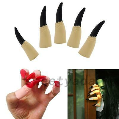 10pcs Fake Fingers Witch Nail Set Cover Halloween Prop Party Fancy Dress Cosplay