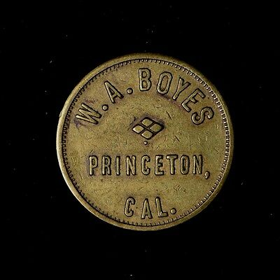 Princeton California Merchant Trade Token W.a. Boyes 5C In Trade K-3 Colusa Co.
