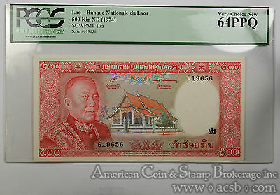 Laos 500 Kip MS64 PPQ PCGS 1974 SCWPM#17a Nationale Laos Ultra Gem