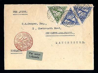 14383-LATVIA-AIRMAIL FRONT COVER RIGA to MANCHESTER (england)1934.WWII.Lettland.