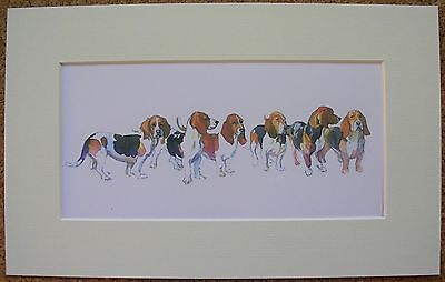 "Reduced - Basset Hound By Jennifer Evans Dog Art Card Print Mounted 11 X 7"" Sale"