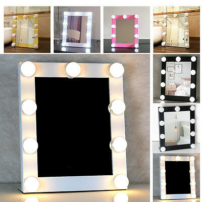 LED Bulb Vanity Lighted Hollywood Makeup Mirror with Dimmer Stage Beauty Touch