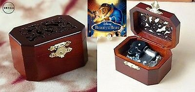 Classic Octagon Wood Wind Up Music Box : Tale As Old As Time