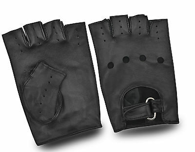 Real Leather Half Finger Men's Cycling Hiking Quality Gloves Classic Vintage