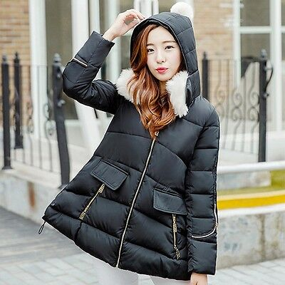 New Maternity Cotton Coat Faux Fur Collar Hooded Outerwear Loose Pregnant Jacket