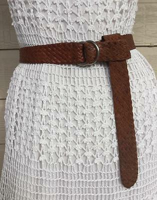 HANDCRAFTED GOLDEN BROWN KANGAROO LEATHER DRESS BELT with SiLVERTONE BUCKLE