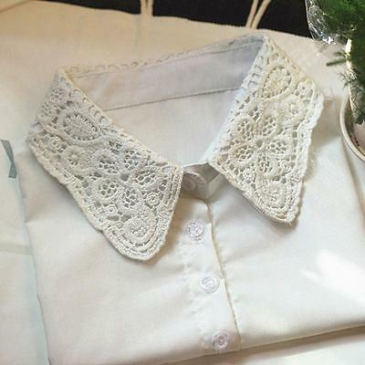 Women's Half Shirt Blouse Fake Collar Lace Cotton Detachable Neckline White - CB