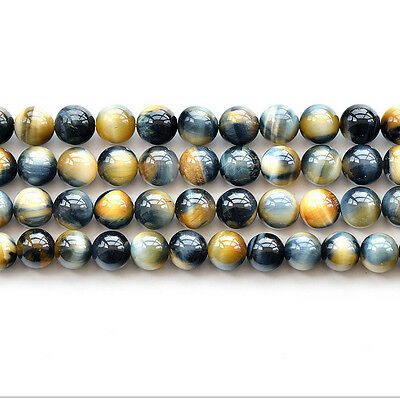 Natural 5A Yellow Blue Tiger's Eye Stone Gemstone Round Spacer Loose Beads 15""