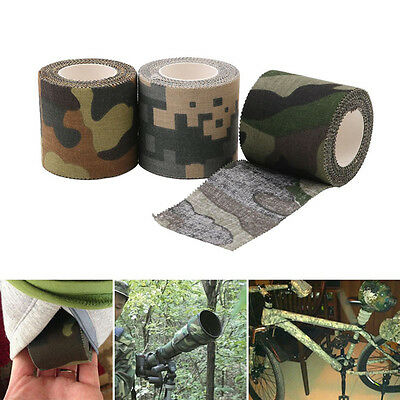 5M Self-adhesive Non-woven Camouflage Cohesive Hunting Camping Camo Stealth Tape