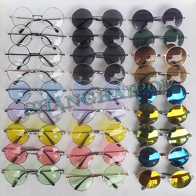 Mirror Clear Lens Round Sunglasses Glasses Shades Vintage Hippy Black Golden New