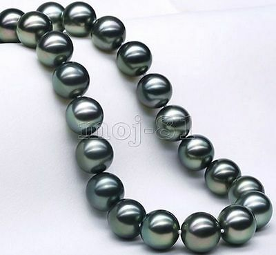 AAA+ Natural 12mm Black South Sea Shell Pearl Round Loose Beads 15'' Strand