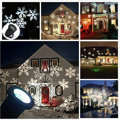 UK Moving Sparkling LED Snowflake Landscape Laser Projector wall Lamp Xmas Light