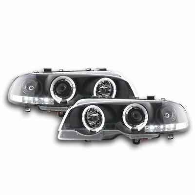 Bmw 3 Series E46 Coupe/cabriolet 1998-2003 Black Angel Eye Halo Headlights Pair