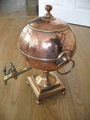 Old Antique Victorian Copper and Brass Samovah copper tea urn