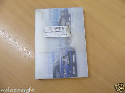 ROVER 45 MK2 Owners Handbook Service History And Handbook Supplement In Folder