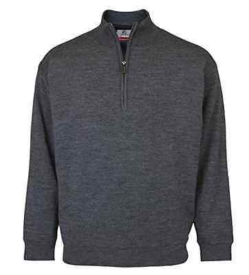 ProQuip Mens XXL Merino Wool Grey Half Zip Jumper - Pro Quip Clothing - Golf