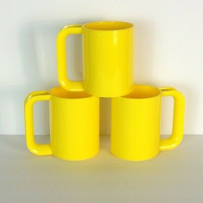 Mod Vintage Heller Dishes Massimo Vignelli Set 3 Yellow Max Mugs MCM Eames Stack