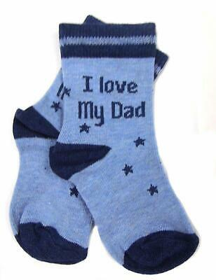 Baby Boys Two Pack Socks I Love My Dad First Size 0-0 and 3-5.5