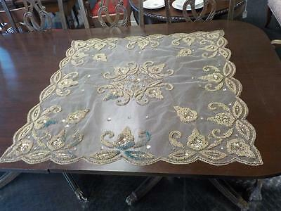 Vintage Gold Beaded & Sequin Square Tablecloth