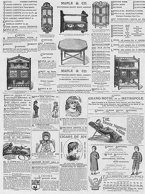 Victorian Adverts; Maple & Co Furniture, Hammock Chairs - Antique Print 1881