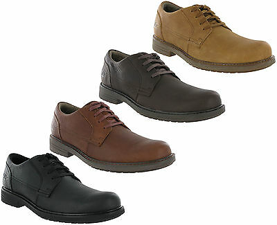 MENS SPOT ON LEATHER LACE UP ROUND TOE PADDED COLLAR CASUAL TRAINER SHOES A2R013