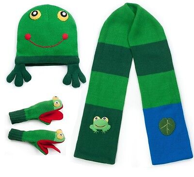 Promo Kidorable Child Knitted Frog Design Knitwear Sets Green Scarf Hat Gloves