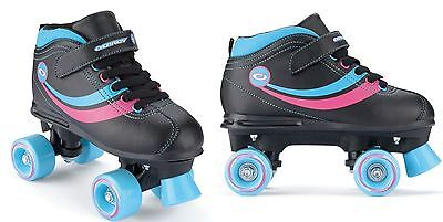Osprey Childrens Retro Quad Roller Skates With Fastening Straps - Black Size 4