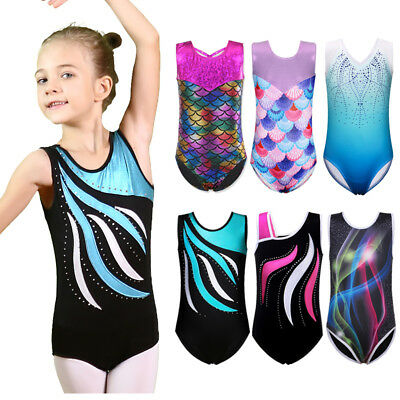 3-14Y Shiny Ballet Dance Gymnastics Leotards Athletic Tank Suit For Kids Girls