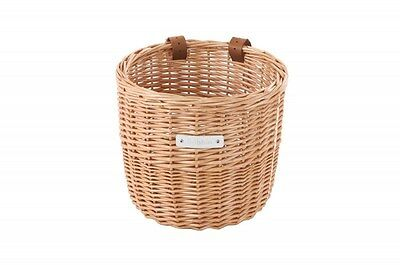 Bobbin Orchard Wicker Round Basket with Leather Straps  Natural