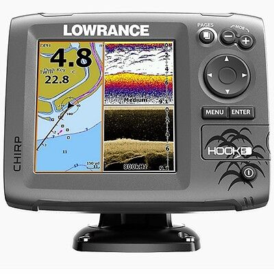Lowrance Hook 5 Chart Plotter Fish Finder with Mid High Down Scan Transducer
