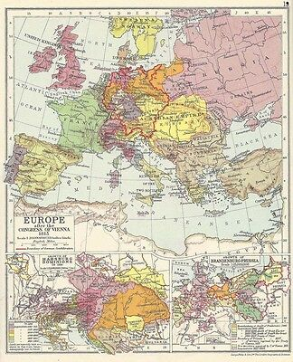 EUROPE After the Congress of Vienna in 1815 Vintage Map 1928