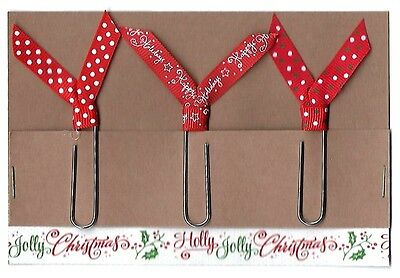 Set of 3 Handmade Decorative Paper Clip Planner Book Marks - CHRISTMAS TRIO Sale