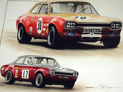 Alan Mann Ford Escort Limited Edition Print Dugan Poster Picture Ford Escort