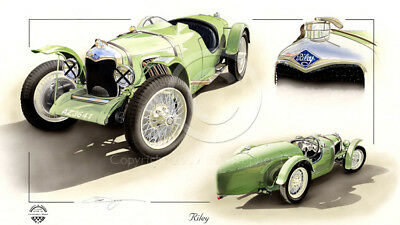 Riley Brooklands Tribute Christopher Dugan Print Stunning Pre War