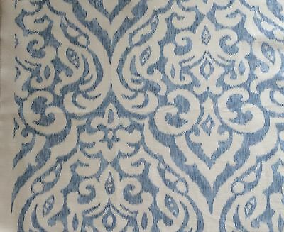 SCALAMANDRE Ikat silk blue white woven new remnant