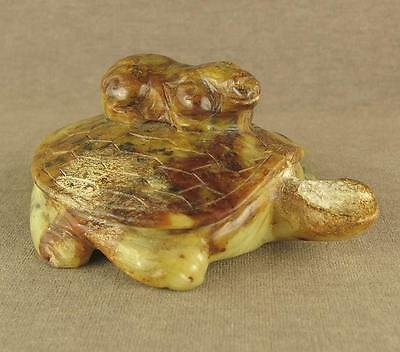 Back Carved Dragon On Chinese Old Jade Statue Tortoise