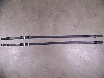 LEATHER LUGGAGE STRAPS for LUGGAGE RACK/CARRIER~(2) SET~BLACK~~3/4 IN. WIDE~S.S.