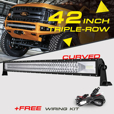 7D Tri-Row 42Inch Curved 1296W Led Light Bar Combo Driving Drl Boat 4X4 Lamp 40""
