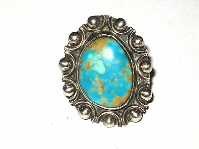 Vintage 1960's Sterling Silver and Kingman Turquoise Ring Size 5  Pre-Owned