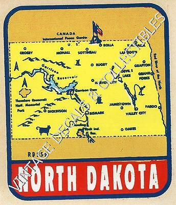 Vintage N Dakota State Map Souvenir Travel Decal Original Waterslide Sticker Art