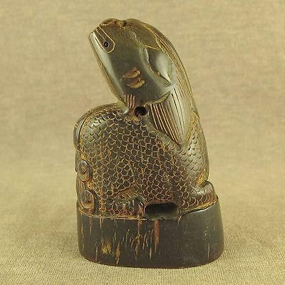With Carved Mythical Beast In Chinese Old Ox Horn Carving Seal