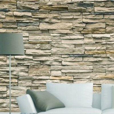 3D Modern Faux Brick Stone Wallpaper Roll Bedroom Living Wall TV Background