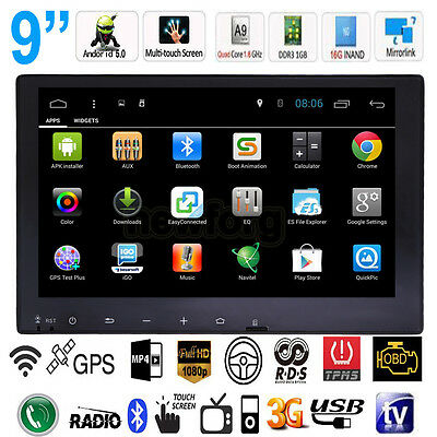 "2 Din 9"" Quad-Core Android 5.0 Car Stereo Radio MP5 MP3 Player GPS WiFi 3G BT TV"