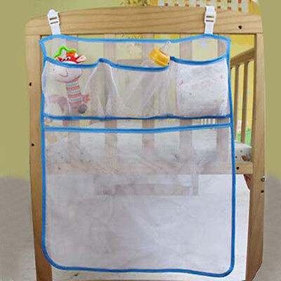 Hot Baby Crib Storage Bag Breathable Mesh Infant Clothes Holder Diaper Organizer