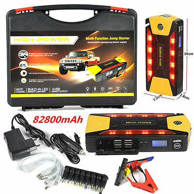 82800MAH Portable Car Jump Starter  Booster Battery  4 USB Emergency Charger+LED