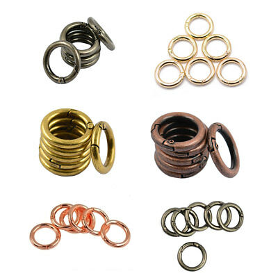 6pcs 25mm Mini Alloy Round Carabiner Spring Snap Hooks Clip Keychain Keyring