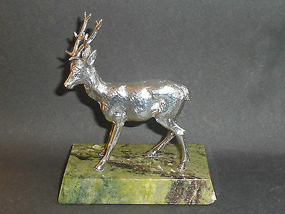 Vintage Sterling Silver Stag On Onyx Base A E Jones Birm 1969